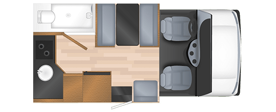 Compact RV Rental Daytime Floor Plan