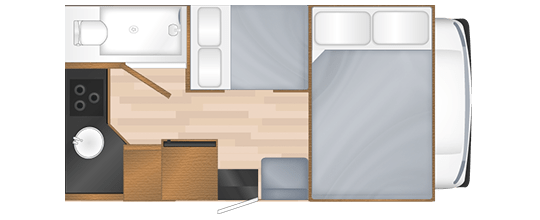 Compact RV Rental Nighttime Floor Plan