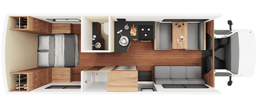 Large RV Rental Daytime Floor Plan